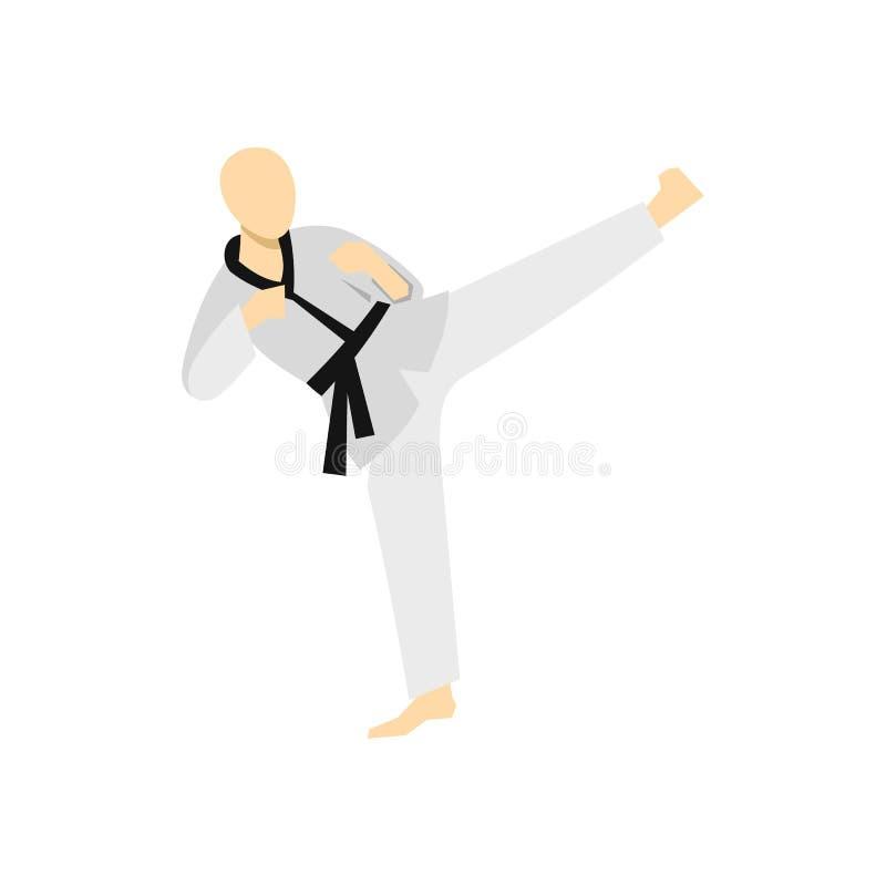 Icono del estilo de Wushu que lucha, estilo plano ilustración del vector