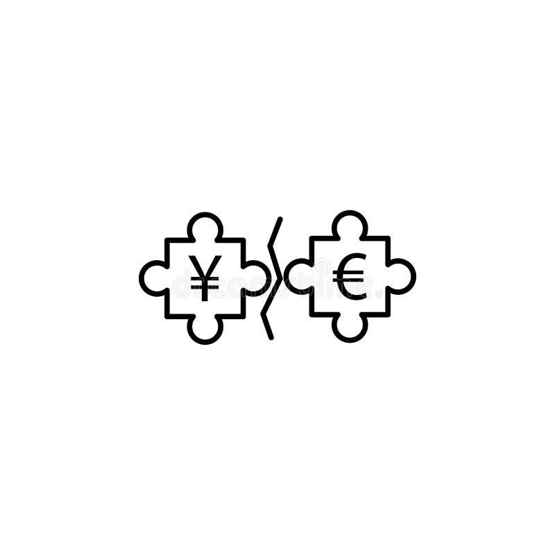 icono del estilo del esquema del euro y de los yenes del rompecabezas Elemento del icono de la guerra de la moneda para el concep stock de ilustración