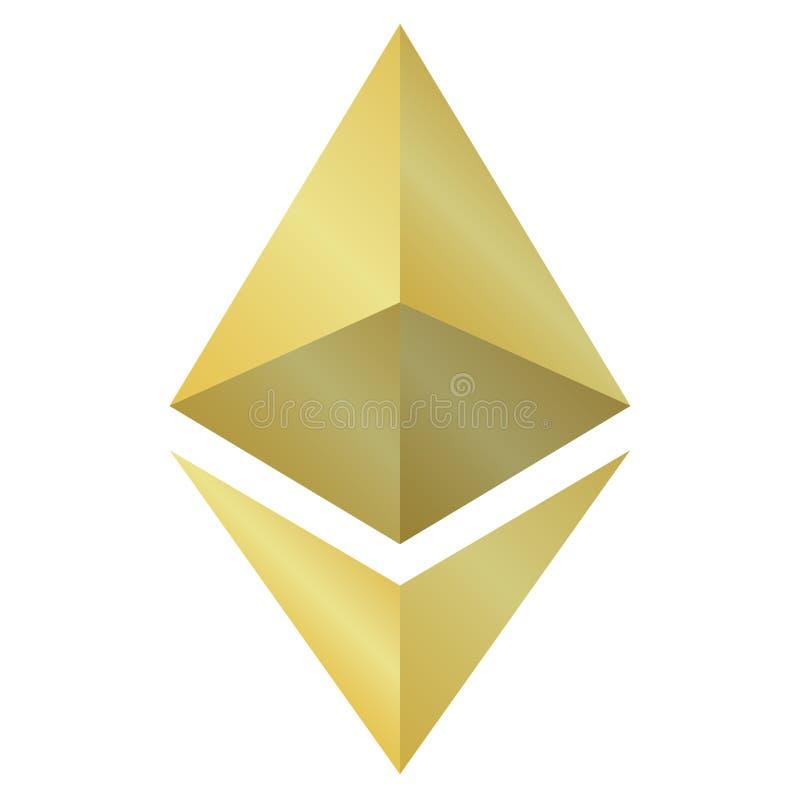 Icono del ethereum del oro de la diversión aislado en el fondo blanco libre illustration