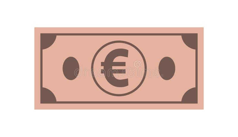 Icono del euro de los billetes de banco, en el fondo blanco aislado Símbolo del currencie en estilo plano stock de ilustración