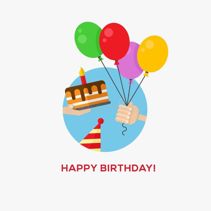 Icono del feliz cumpleaños stock de ilustración