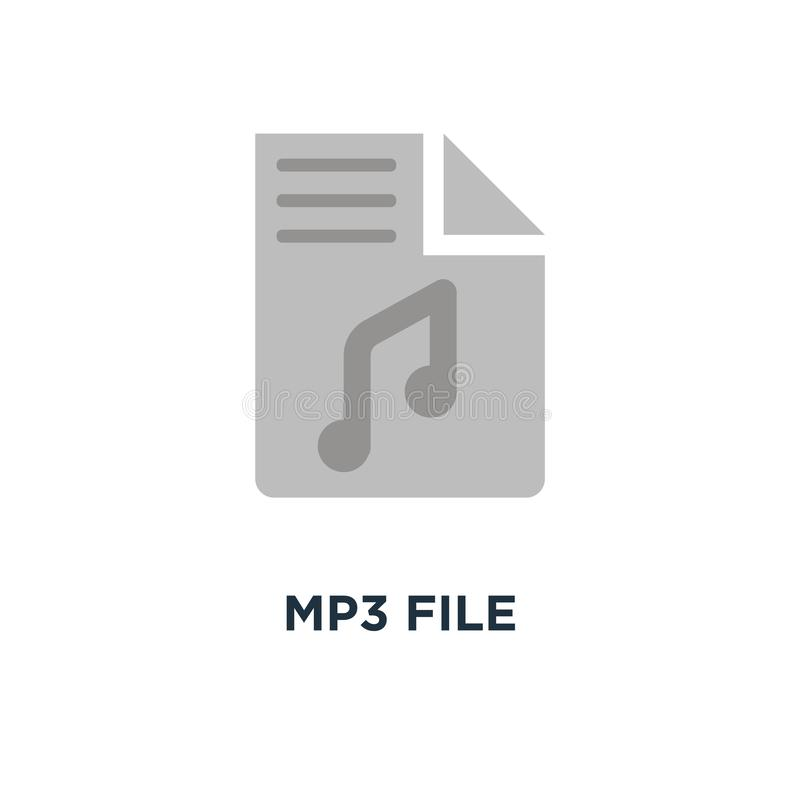 Icono del fichero MP3 diseño plano del símbolo del concepto, de jugador de música en wh libre illustration