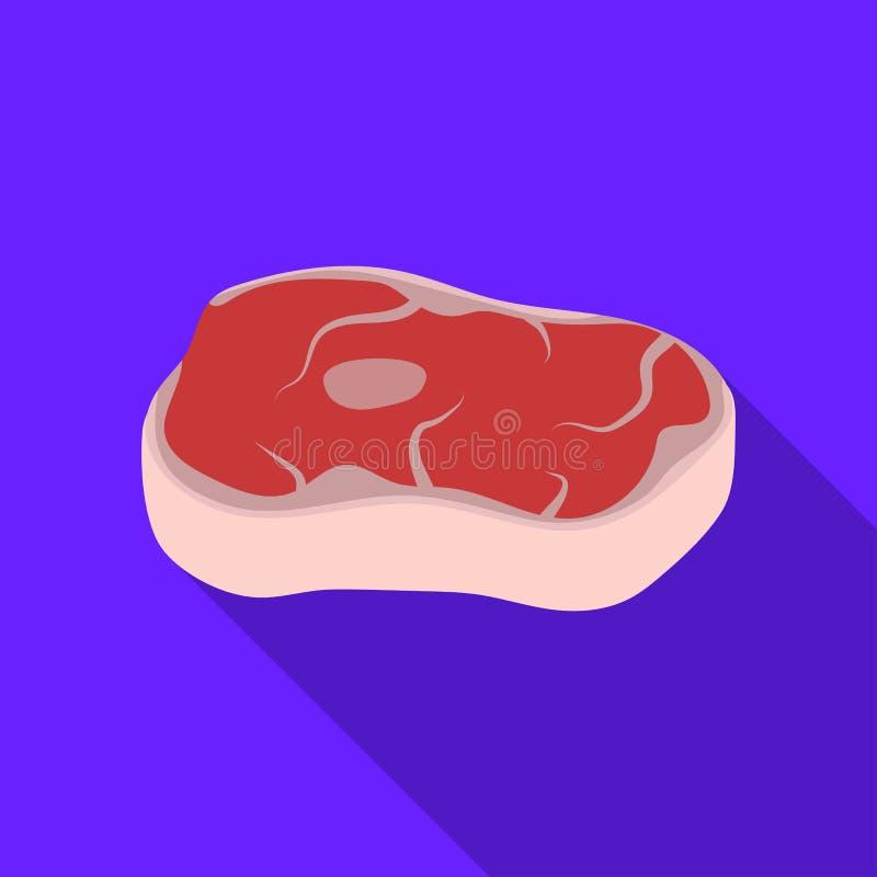 Icono del filete en estilo plano aislado en el fondo blanco Ejemplo del vector de la acción del símbolo de las carnes libre illustration