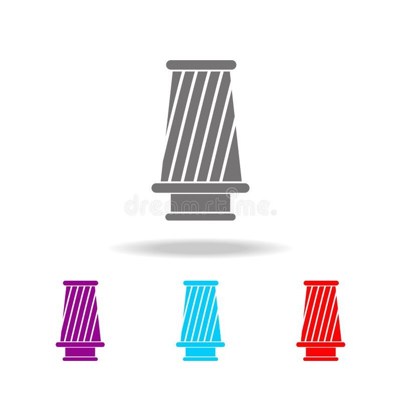 Icono del filtro del cono Elementos de los iconos coloreados multi de la reparación del coche Icono superior del diseño gráfico d ilustración del vector