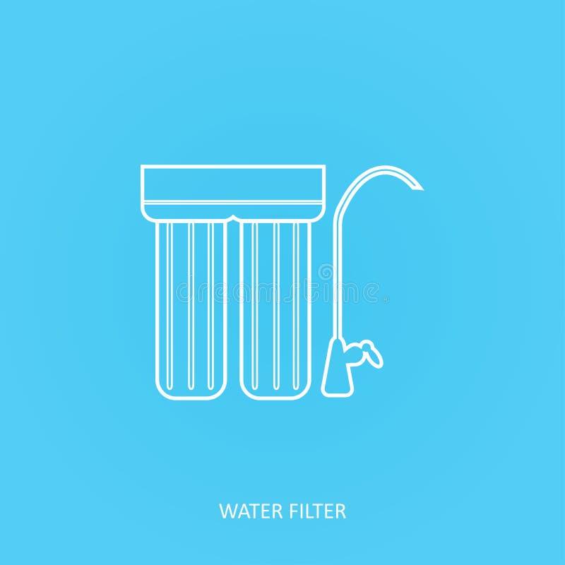 Icono del filtro de agua La bebida y la purificación del agua casera debajo del fregadero filtran Golpee ligeramente el sistema d libre illustration