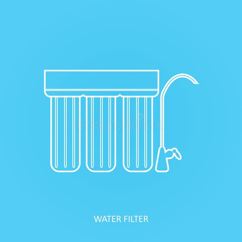 Icono del filtro de agua La bebida y la purificación del agua casera debajo del fregadero filtran Golpee ligeramente el sistema d stock de ilustración
