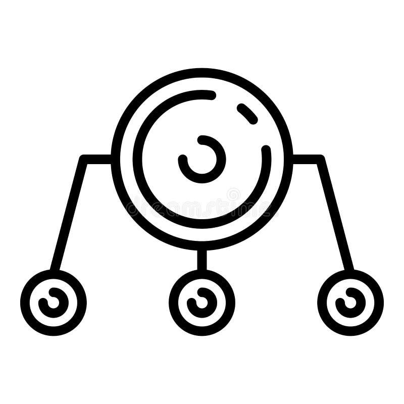 Icono del firewall network, estilo del esquema stock de ilustración