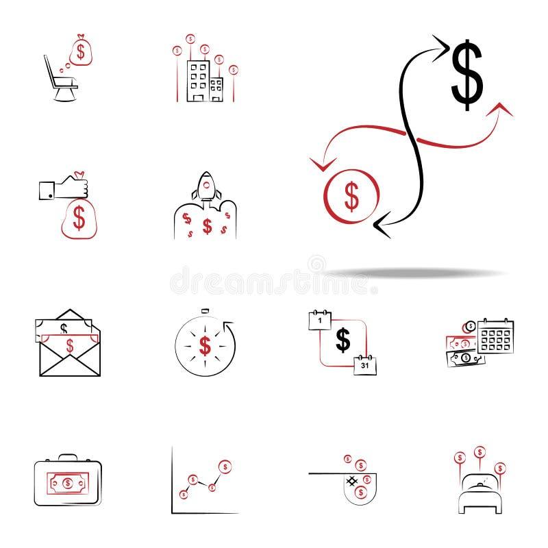 Icono del flujo de dinero Financie el sistema universal de los iconos para el web y el móvil ilustración del vector
