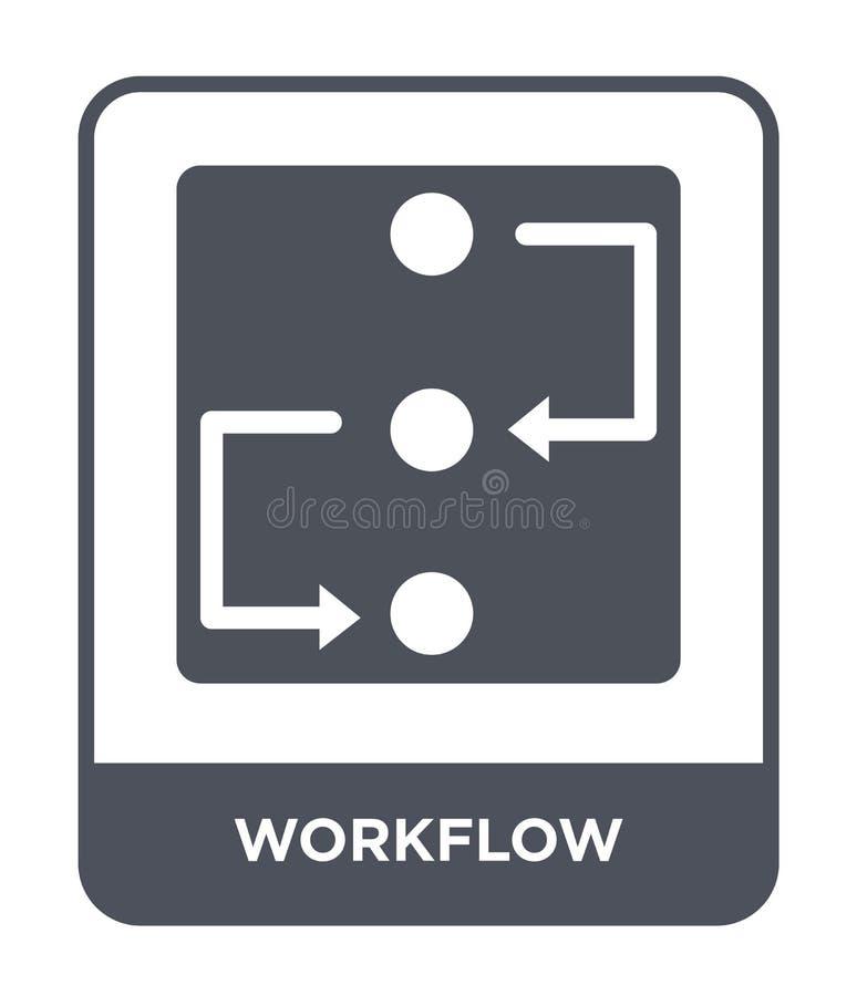 icono del flujo de trabajo en estilo de moda del diseño icono del flujo de trabajo aislado en el fondo blanco plano simple y mode stock de ilustración