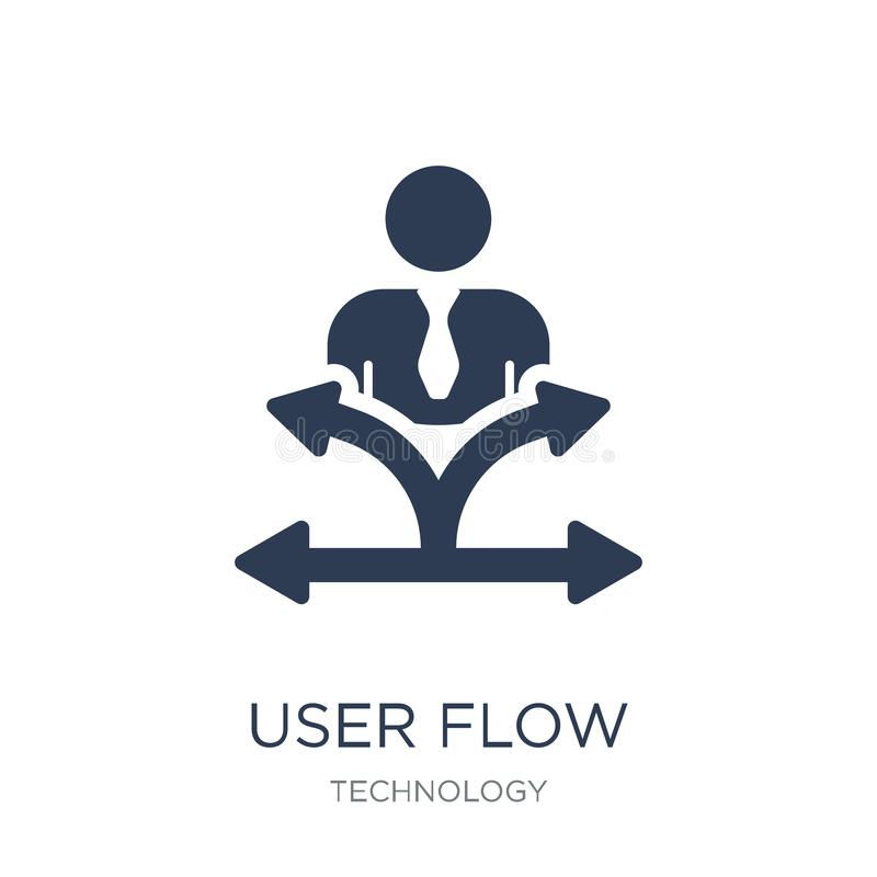 Icono del flujo del usuario Icono plano de moda del flujo del usuario del vector en el backg blanco ilustración del vector