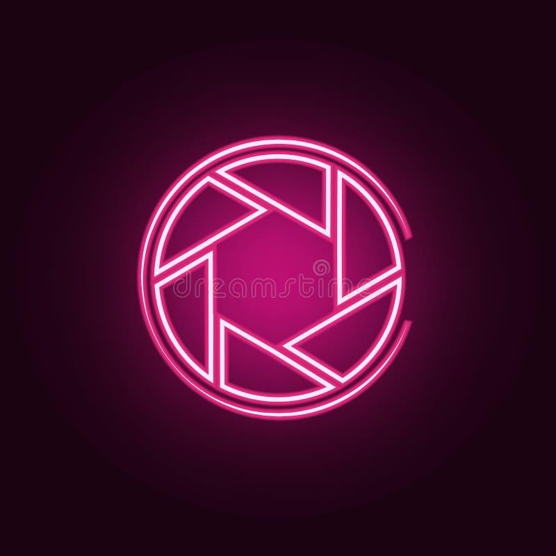 Icono del foco de la c?mara Elementos de la foto en los iconos de neón del estilo Icono simple para las p?ginas web, dise?o web,  libre illustration