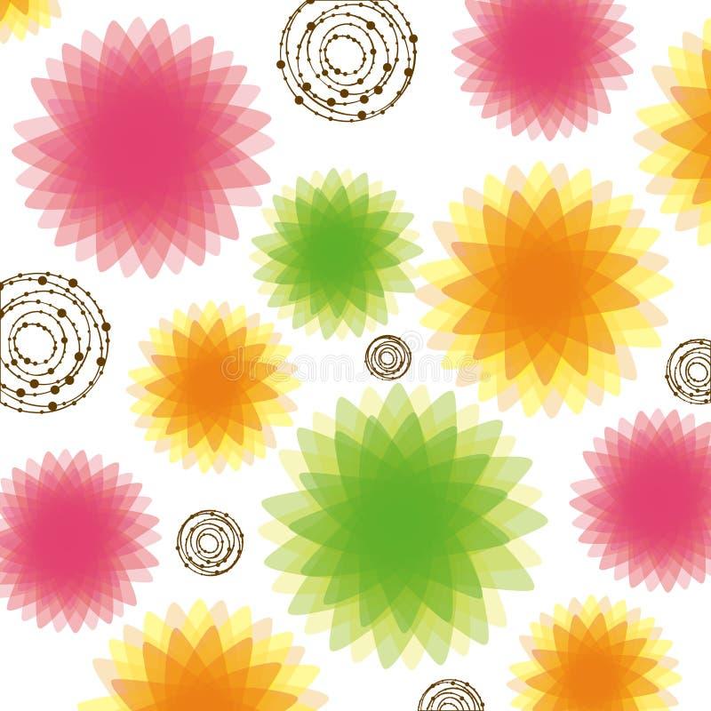 icono del fondo de las burbujas y de las flores del color stock de ilustración