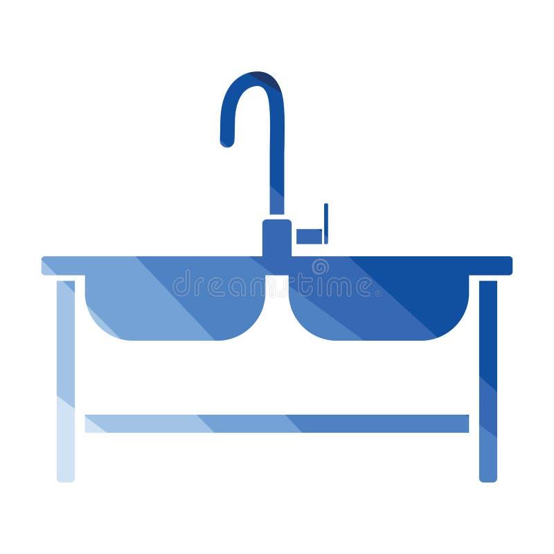 Icono del fregadero doble stock de ilustración