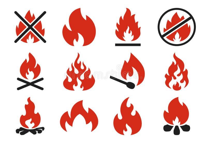 Icono del fuego de la quemadura Silueta de la bola de fuego de la llama u hoguera ardiendo del peligro Sistema plano del ejemplo  stock de ilustración