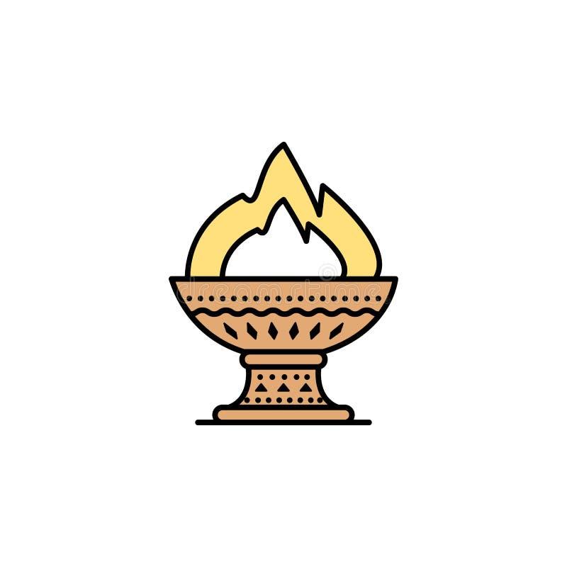 Icono del fuego Elemento del icono de Grecia antigua del color para los apps móviles del concepto y de la web El icono coloreado  ilustración del vector