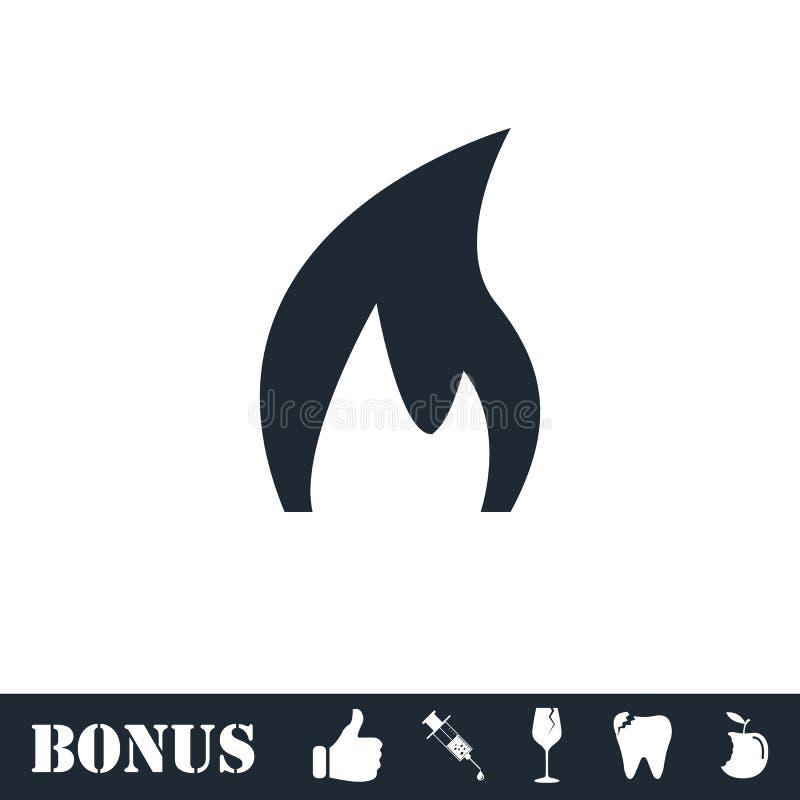 Icono del fuego plano ilustración del vector