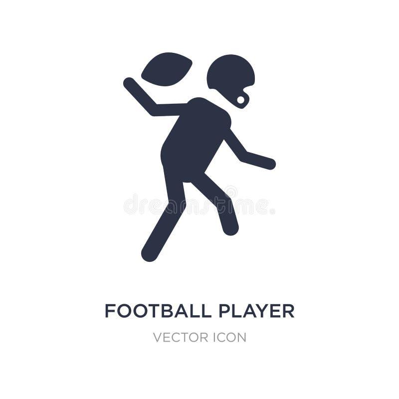 icono del futbolista en el fondo blanco Ejemplo simple del elemento del concepto del fútbol americano stock de ilustración