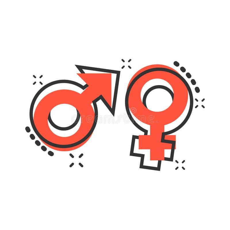 Icono del género de la historieta del vector en estilo cómico Muestra IL de los hombres y de las mujeres ilustración del vector