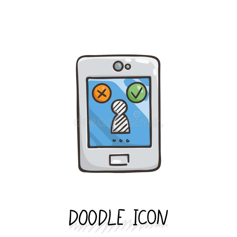 Icono del garabato de Smartphone Ilustración del vector ilustración del vector
