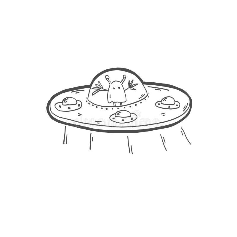 Icono del garabato del dibujo de bosquejo del extranjero extraño en un platillo volante ilustración del vector