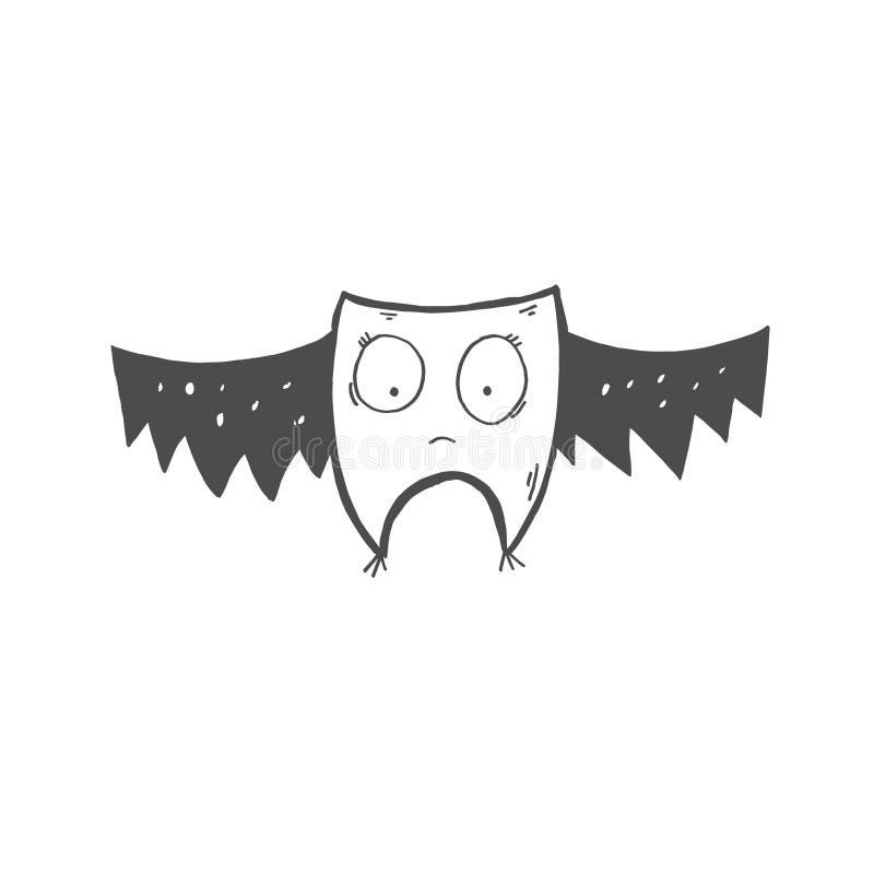 Icono del garabato del palo o del búho extraño con los ojos grandes stock de ilustración