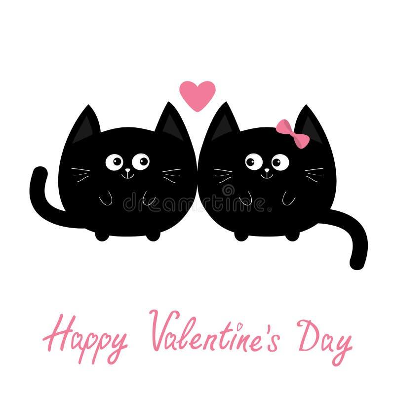 Icono del gato negro de la forma redonda Pares de la familia del amor Personaje de dibujos animados lindo del corazón rosado Rose libre illustration