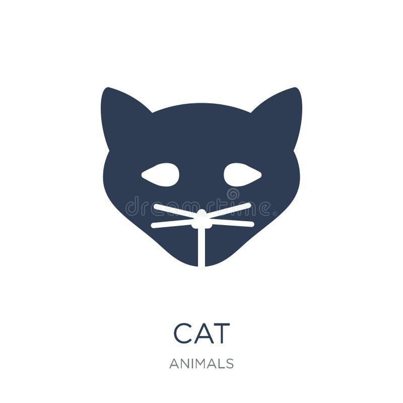 Icono del gato Icono plano de moda del gato del vector en el fondo blanco de a ilustración del vector
