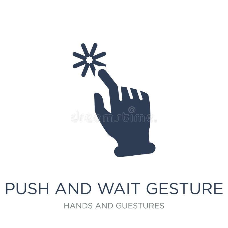 Icono del gesto del empuje y de la espera Ges planos de moda del empuje y de la espera del vector stock de ilustración