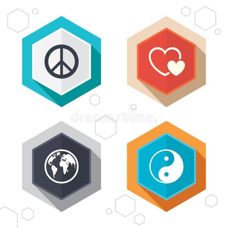 Icono del globo del mundo Muestra de Ying yang Amor de los corazones stock de ilustración