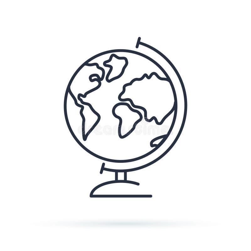 Icono del globo Ejemplo de la tierra para el estudio Icono del mundo aislado en fondo Pictograma plano moderno del estilo ilustración del vector