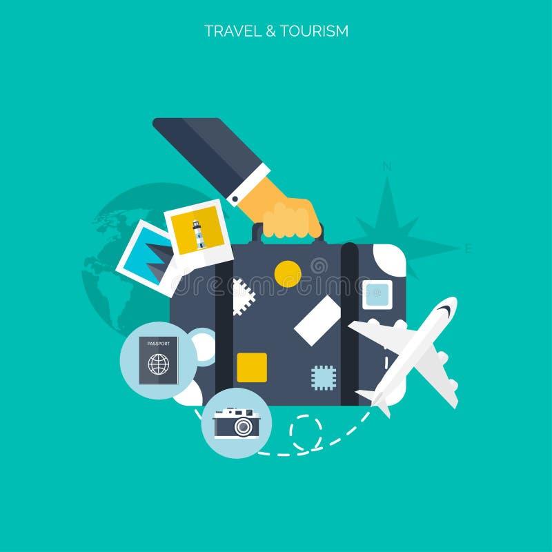 Icono del globo Fondo del concepto del World Travel Iconos planos Turismo Vacaciones de los días de fiesta El viajar del aire de  libre illustration