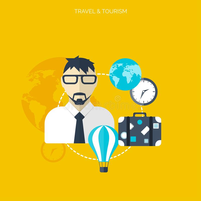 Icono del globo Fondo del concepto del World Travel Iconos planos Turismo Vacaciones de los días de fiesta El viajar del aire de  ilustración del vector