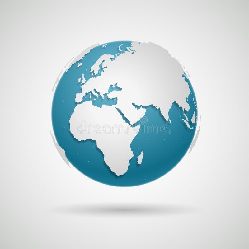 Icono del globo - vector redondo del mapa del mundo ilustración del vector