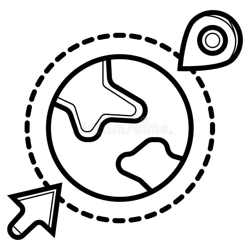 Icono del globo del vector Ubicaci?n en el globo Pin en el globo ilustración del vector