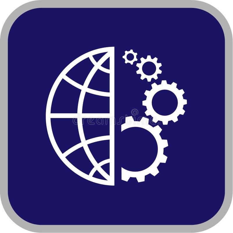 Icono del globo y del engranaje del vector stock de ilustración
