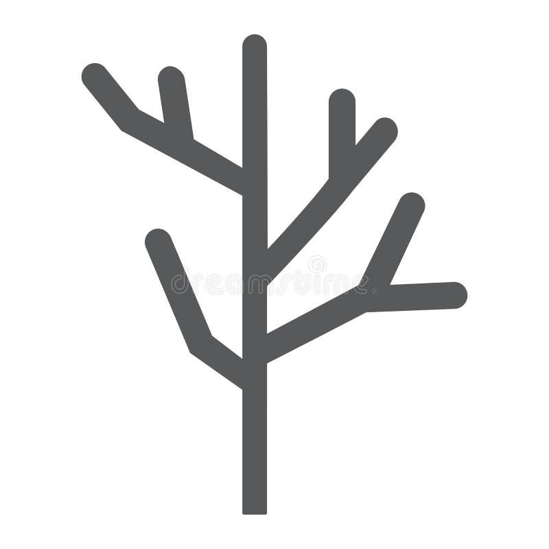 Icono del glyph, árbol y madera de construcción de madera secos, muestra de la rama, gráficos de vector, un modelo sólido en un f ilustración del vector