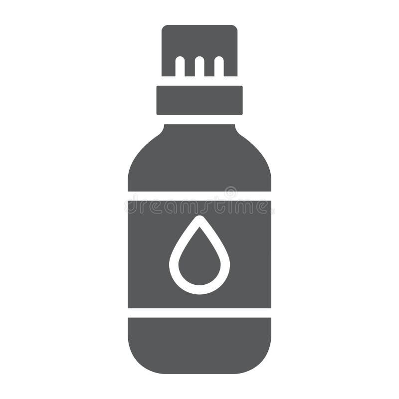 Icono del glyph del aceite esencial, aromatherapy y cosmético, muestra aromática del aceite, gráficos de vector, un modelo sólido ilustración del vector
