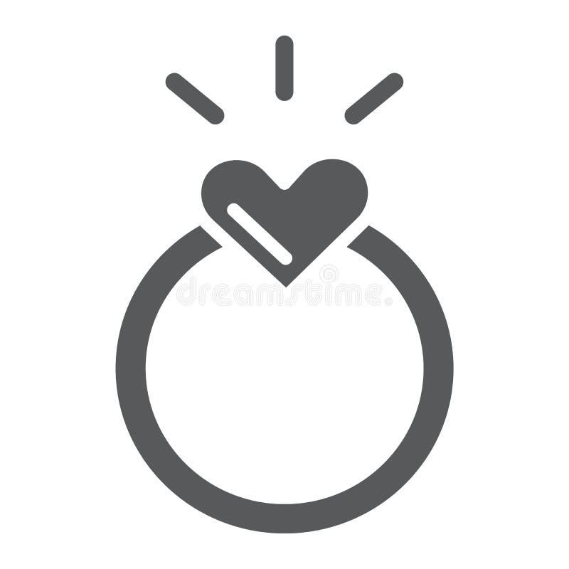 Icono del glyph del anillo, amor y joyería, muestra del anillo de compromiso, gráficos de vector, un modelo sólido en un fondo bl libre illustration