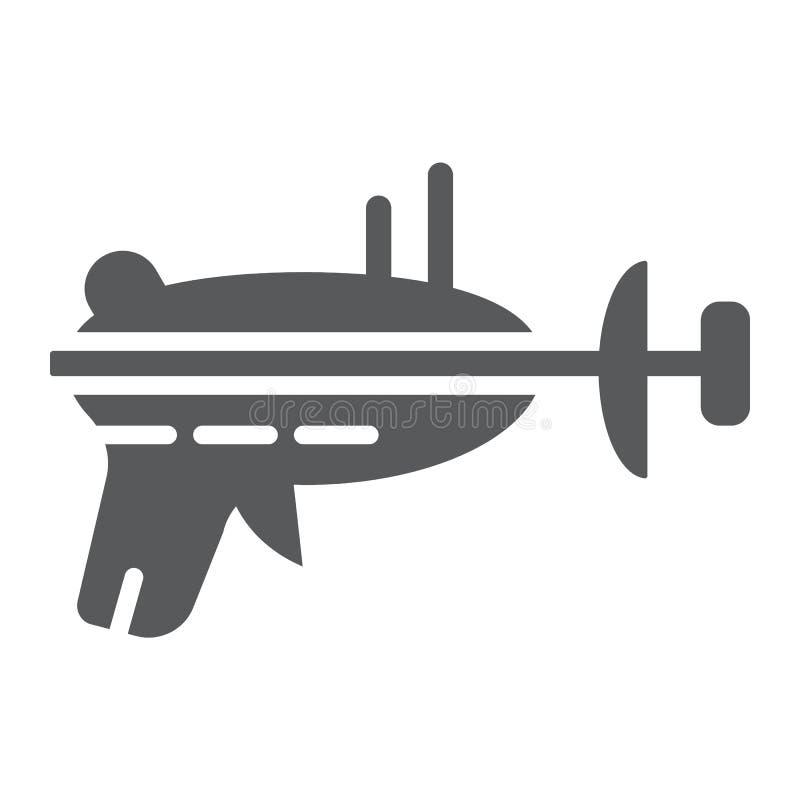 Icono del glyph del arenador, espacio y arma, muestra del arenador del laser, gráficos de vector, un modelo sólido en un fondo bl ilustración del vector