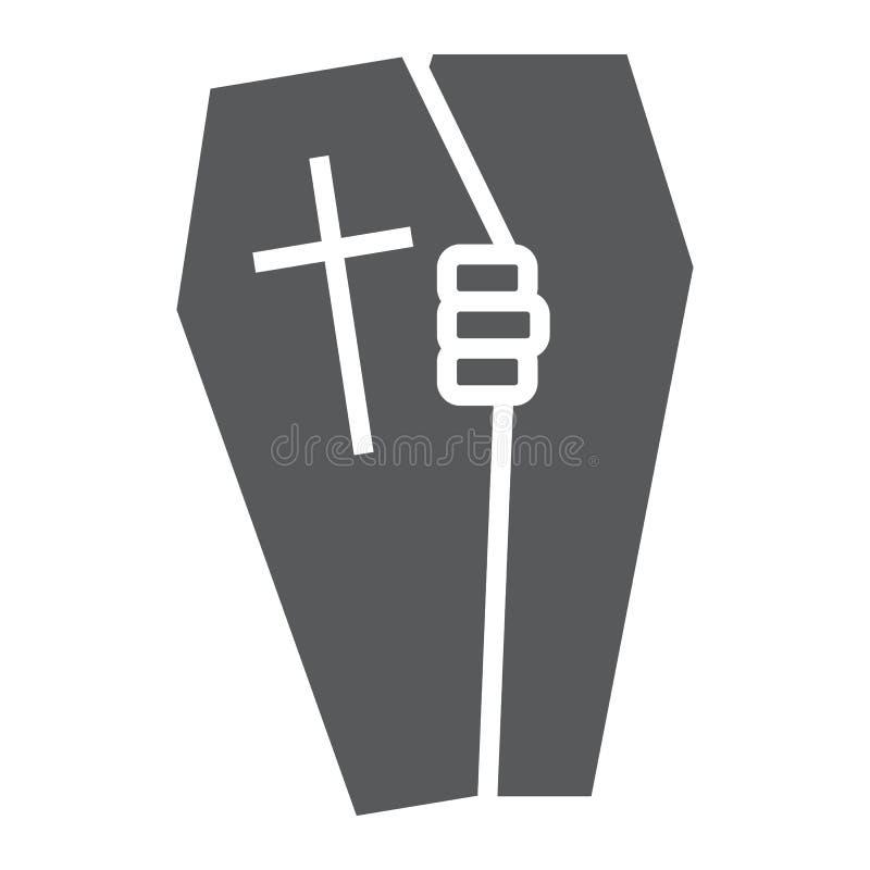 Icono del glyph del ataúd de Halloween, muerte y entierro, muestra grave, gráficos de vector, un modelo sólido en un fondo blanco stock de ilustración