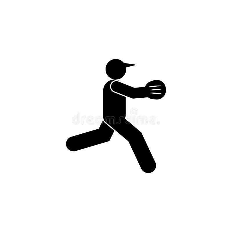 Icono del glyph del b?isbol del hombre Elemento del icono del ejemplo del deporte del b?isbol Las muestras y los s?mbolos se pued libre illustration