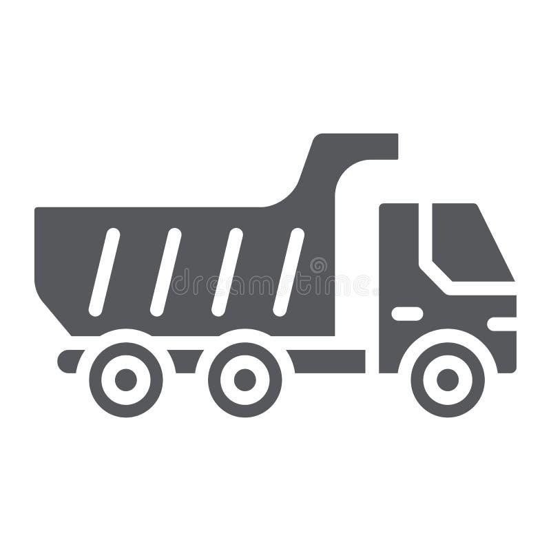 Icono del glyph del camión volquete, transporte y automóvil, muestra del camión de volquete, gráficos de vector, un modelo sólido ilustración del vector