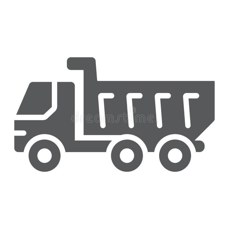 Icono del glyph del camión volquete, vehículo y construcción, muestra del coche, gráficos de vector, un modelo sólido en un fondo stock de ilustración