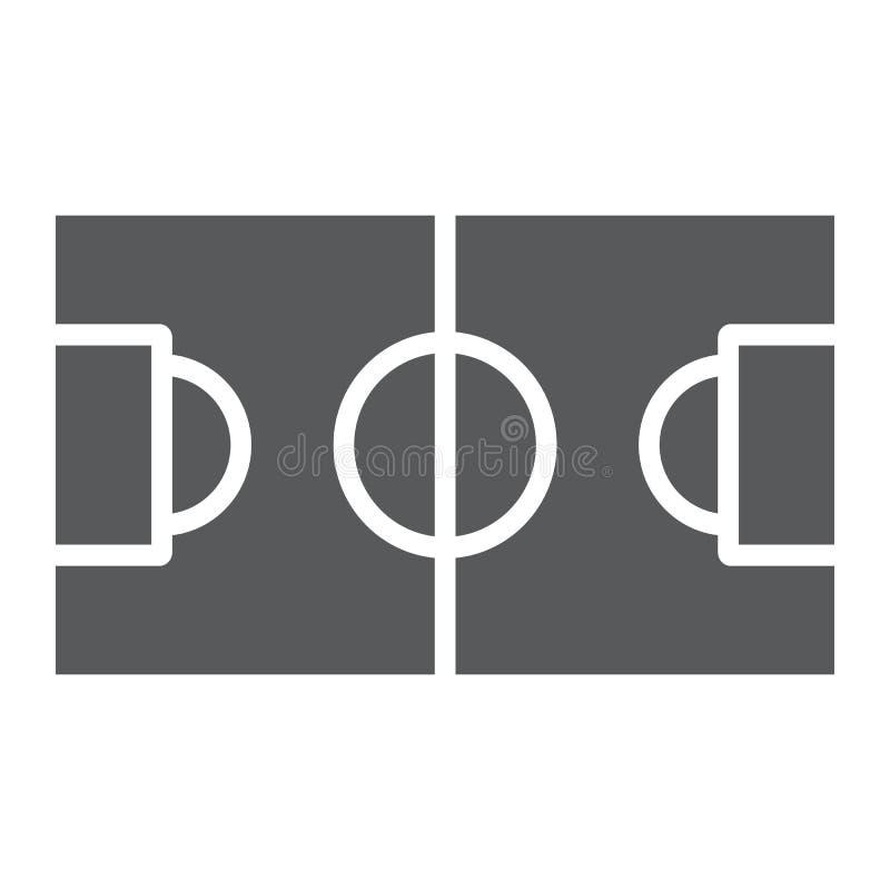 Icono del glyph del campo de fútbol, deporte y fútbol, muestra del estadio, gráficos de vector, un modelo sólido en un fondo blan libre illustration