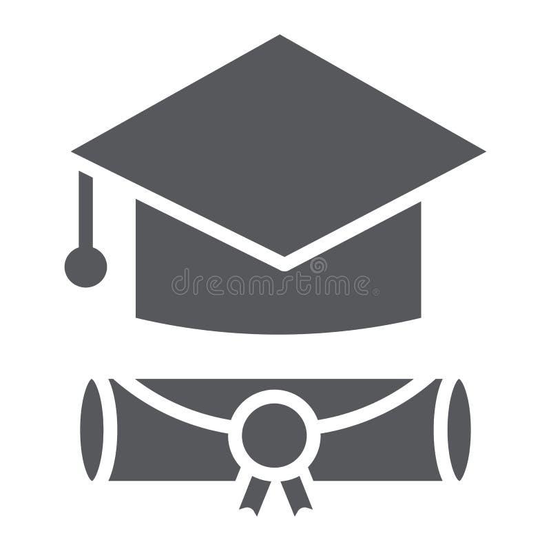 Icono del glyph del casquillo de la graduación, graduado y conocimiento, muestra académica del sombrero, gráficos de vector, un m ilustración del vector