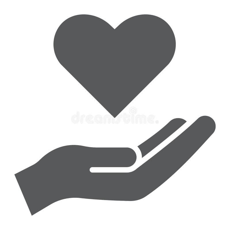 Icono del glyph del cuidado, familia y amor, mano que lleva a cabo la muestra del corazón, gráficos de vector, un modelo sólido e ilustración del vector