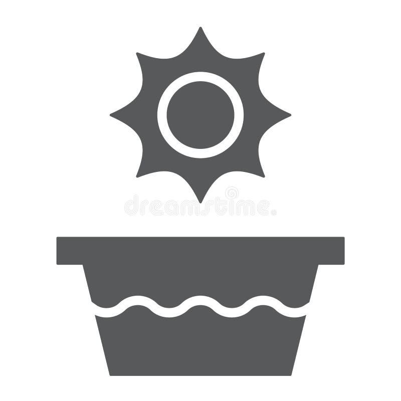Icono del glyph de la agua caliente, temperatura y lavado, muestra del lavabo, gráficos de vector, un modelo sólido en un fondo b libre illustration