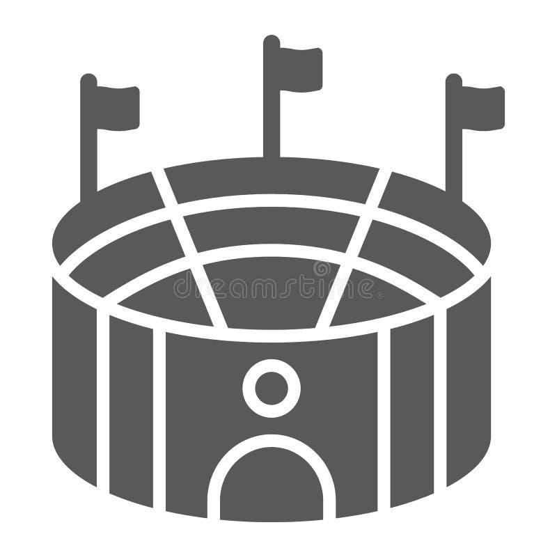 Icono del glyph de la arena del fútbol, deporte y campo, muestra del estadio, gráficos de vector, un modelo sólido en un fondo bl libre illustration