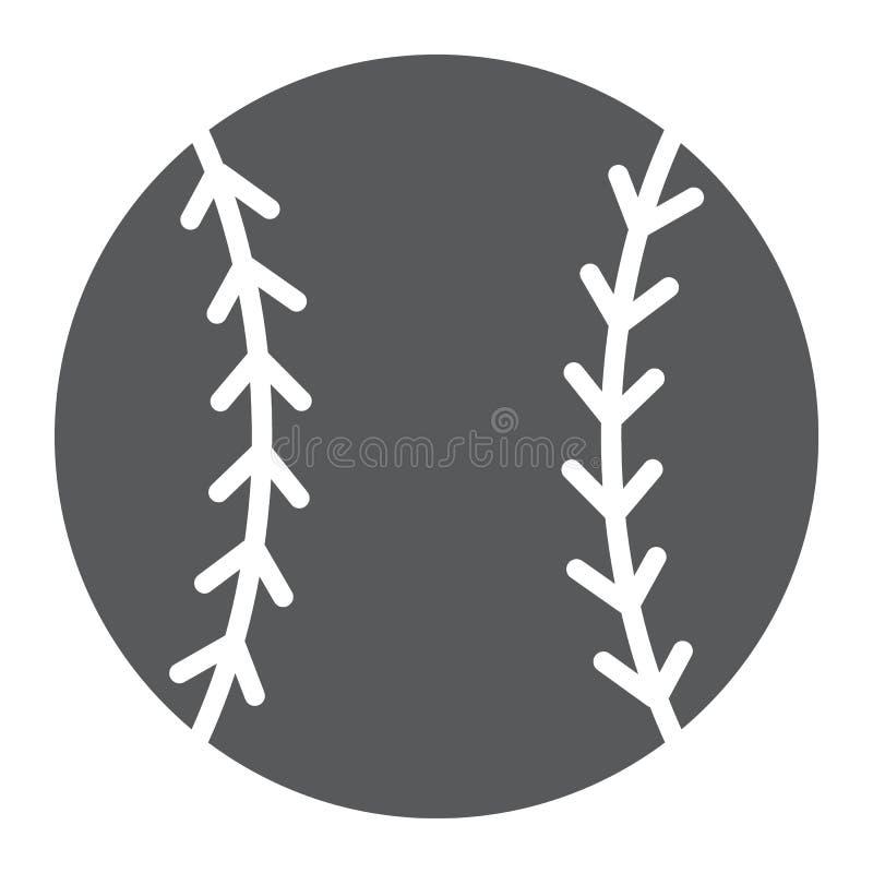Icono del glyph de la bola del béisbol, juego y deporte, bola stock de ilustración