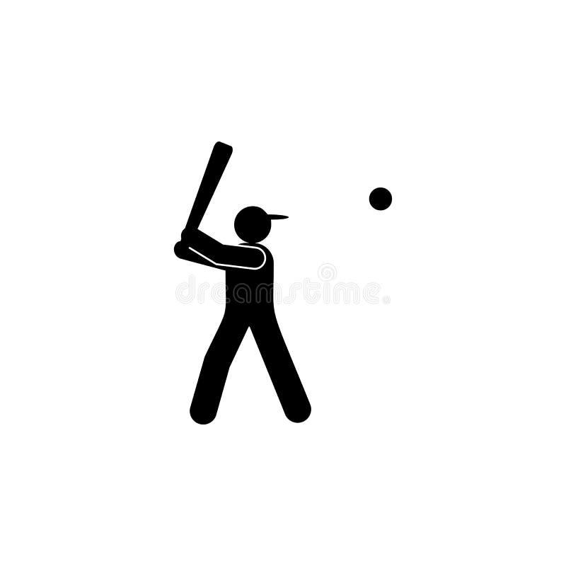 Icono del glyph de la bola del talud del hombre Elemento del icono del ejemplo del deporte del b?isbol Las muestras y los s?mbolo ilustración del vector